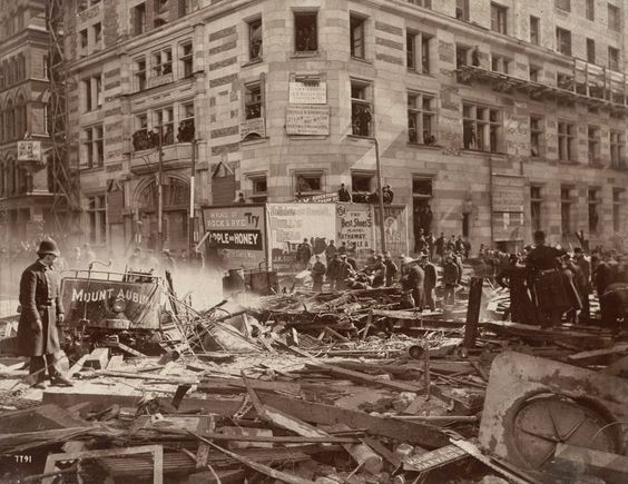 An explosion at the corner of Tremont and Boylston during the construction of the Tremont Street Subway on March 4, 1897.  Photo courtesy of...