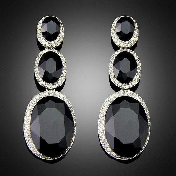 Costume Brincos for Women Vintage Design Antique Platinum Plating Black Alloy BlImitation Big Drop Earrings