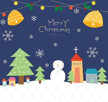 일러스트 크리스마스 겨울 플랫디자인 눈사람 크리스마스트리 나무 눈 날씨 눈결정 사람없음 미소 교회 건축물 주택 종 열매 호랑가시나무 설원 팬시 카드 우편 밤 시간 크리스마스 카드 크리스마스 트리 메리 크리스마스
