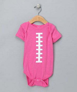 When little ones are small, they can't quite toss around a football just yet, but the love of the game will be learned every time this bodysuit is tossed on. Next lesson: victory dance.