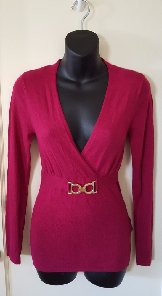 Sexy Women's Dark Pink Long Sleeve Knit Top Sweater, Size XS, Events #Events #VNeck #alohamilena #ebay #sweater #Pink #sexy #fashion #woman #sale #womanfashion