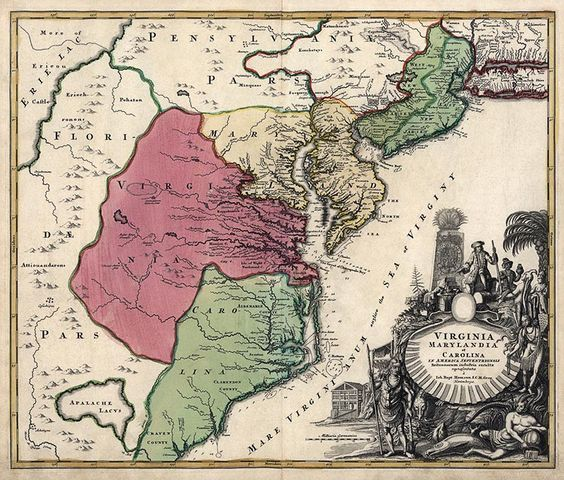 Antique map of Virginia, Maryland and North Carolina from c1759