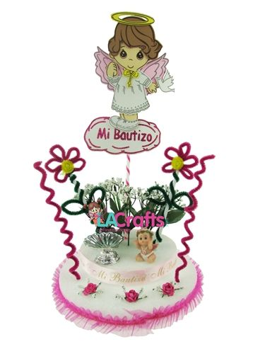 Beautiful DIY Baptism centerpiece for girls. Click for the list of materials to make this project!