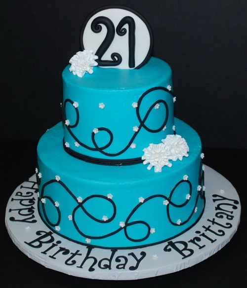 tiered 21st birthday cake designs - blue colors cake for ...
