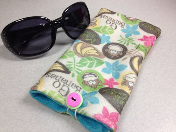 Handcrafted Soft Felt Sun Glasses Case with Button by FabMagBags, $6.00