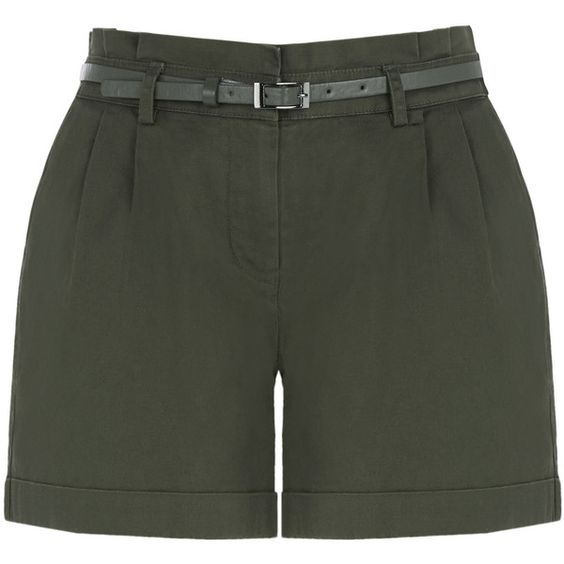 OASIS Casual Belted Short ($52) ❤ liked on Polyvore featuring shorts, green, thin belt, short shorts, summer shorts, skinny belt and green shorts