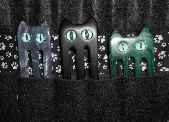 meine Katzenforkenfamile von Fairycat aus Acryl, Ebenholz und Dymondwood