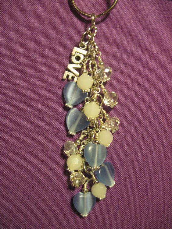Blue White and Clear Glass Beaded Purse Charm / by FoxysFunDangles