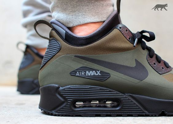 nike air max 90 mid winter dark loden black dark grey