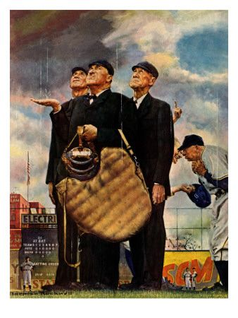 """""""Bottom of the Sixth""""  (Three Umpires), April 23,1949 by Norman Rockwell. Giclee print from Art.com."""