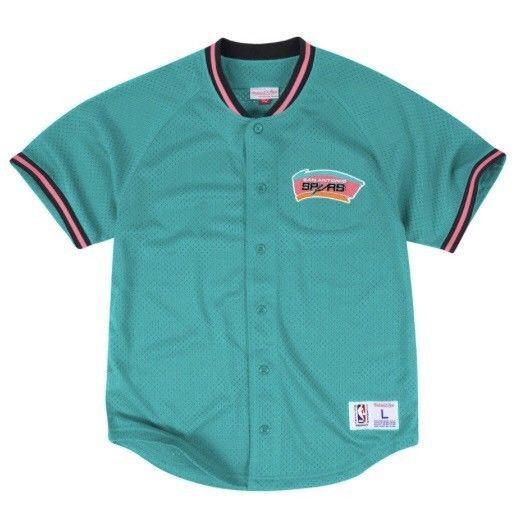 Mitchell   Ness Size L San Antonio Spurs Baseball Jersey 90s Retro Fiesta  Colors  3c1e51093
