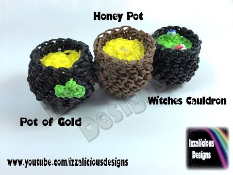 Rainbow Loom 3D Pot of Honey, Pot of Gold & Witches Cauldron - loomless (loom-less) Hook Only