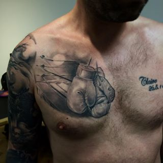Healed Boxing Gloves Done Some Time Ago Chest Tattoo Boxing Gloves Boxingoves Ring Boxingring Blackan Boxing Gloves Tattoo Boxing Tattoos Boxing Gloves