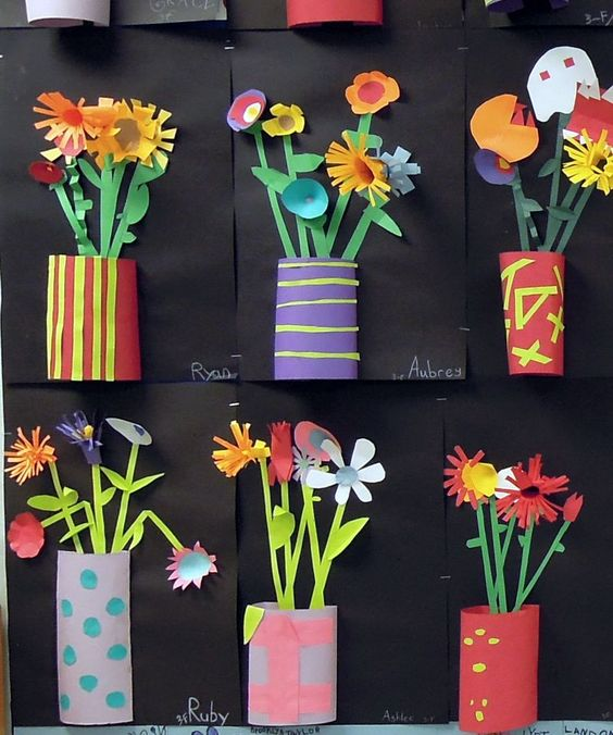 Cut paper relief flowers - perfect for children's spring art and craft