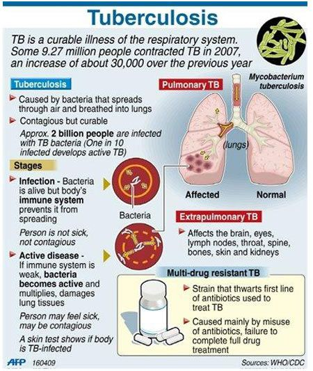 Tuberculosis-primary infection; bacillus first enters body, macrophages engulf microbe causing local inflammatory response, some bacilli travel to lymph nodes (activate type IV hypersensitivity reaction); granuloma and tubercle forms, caseous necrosis and Ghon complexes develop, bacilli can remain dormant for years while remaining asymptomatic, but the person will test positive now.