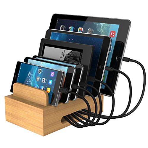 Maxgadget Bamboo Charging Station Dock Desktop Organizer Stand Compatiable With Anker Ravpower Poweradd 456p Desktop Organization Usb Chargers Charging Station