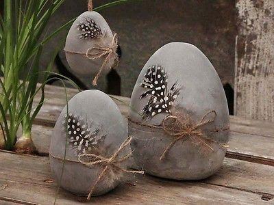 Chic Antique Vintage Easter Egg with Guinea Feather (11 cm, Decorative Concrete, Gray, Deco) - #Antique #chic #cm #Concrete #Deco #Decorative #Easter #Egg #Feather #Gray #Guinea #Vintage