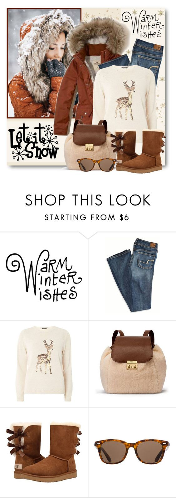 """""""Warm Winter Wishes"""" by brendariley-1 ❤ liked on Polyvore featuring American Eagle Outfitters, Dorothy Perkins, UGG and ToyShades"""