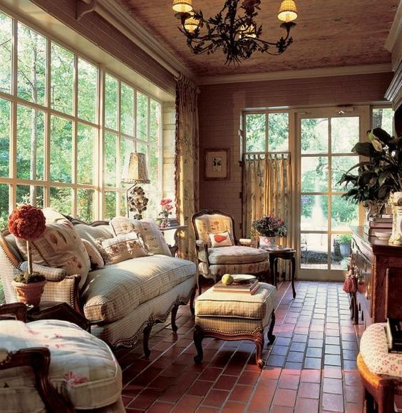 Southern Living Sunrooms Porches Southern Living Lakeside Cottage French Country Decorating Living Room French Country Living Room Country House Decor