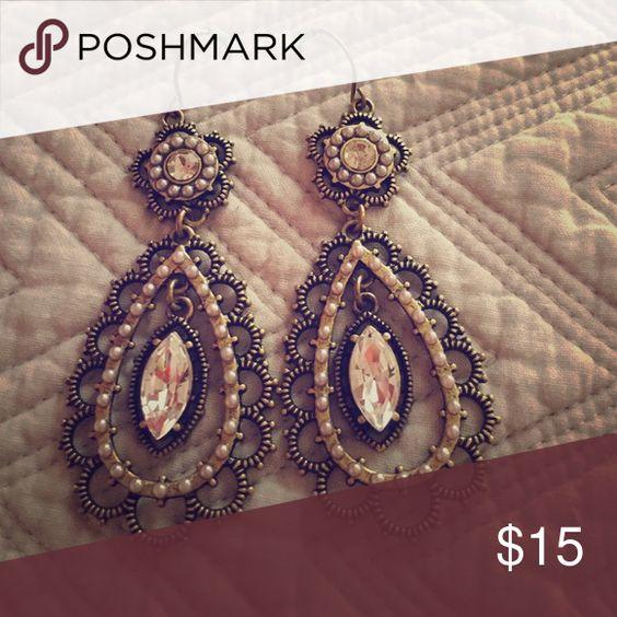 Pearl + Crystal Floral Filigree Earrings Pearl + Crystal Floral Filigree Earrings. Nickel free and brass played Jewelry Earrings