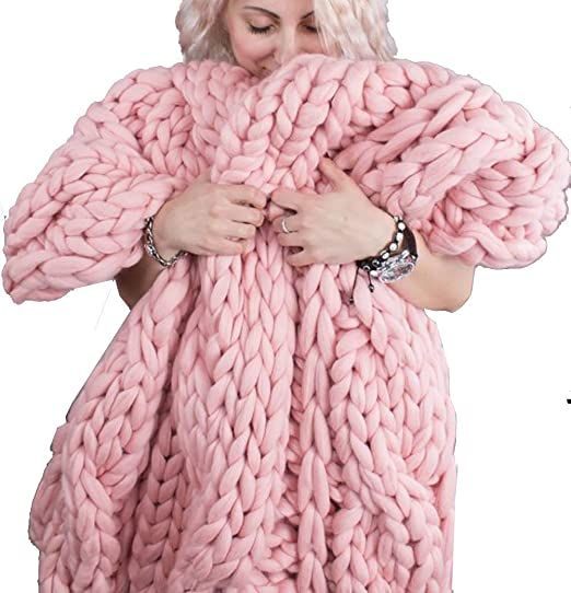 Chunky Knit Thick Soft Blanket Wool Style Knit Throw Sofa Bed Blanket Pink