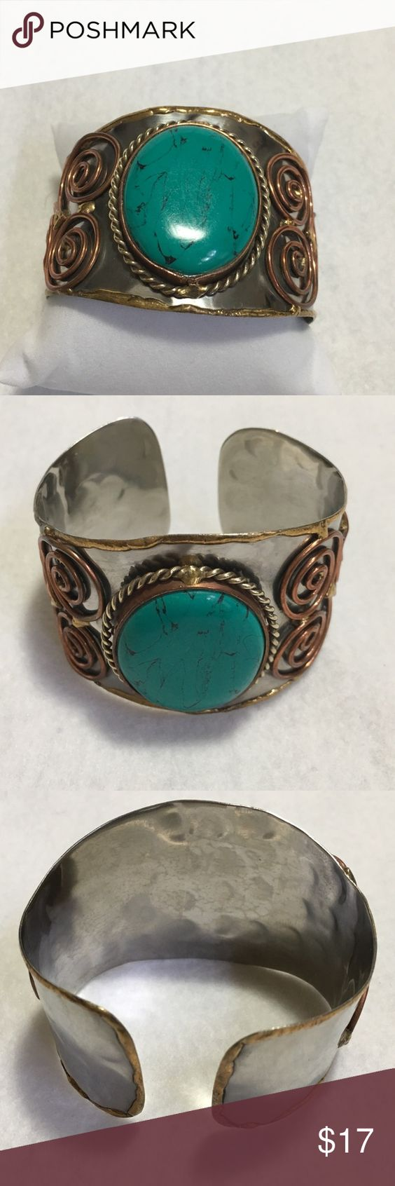 Large Turquoise Cuff with Copper and Brass Large Turquoise Cuff with Copper and Brass Jewelry Bracelets