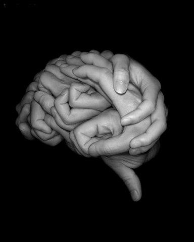 Brain figure made of Human Hands