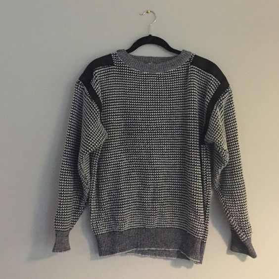 Vintage black and white sweater Leather detailing on shoulders Sweaters Crew & Scoop Necks