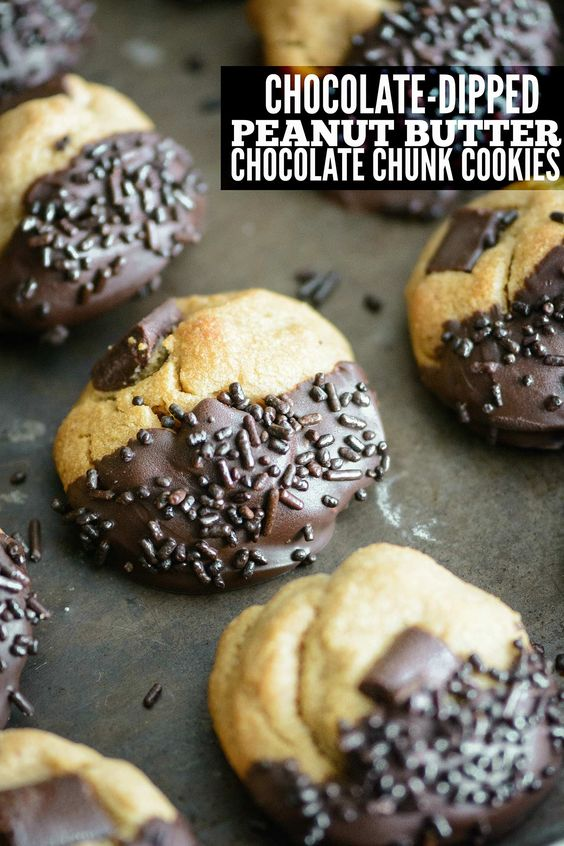 Chocolate chunk cookies, Chocolate sprinkles and Peanut butter on ...