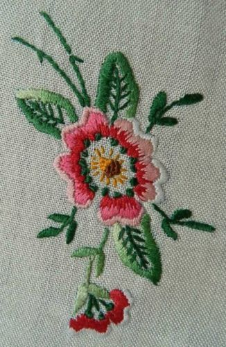 Vintage White Irish Linen Table Topper Hand Embroidery Blue Pink Blooms