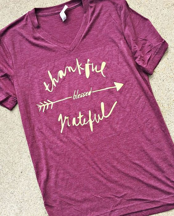 Thankful Grateful Blessed Unisex Tee  Thanksgiving by BusyBicycle