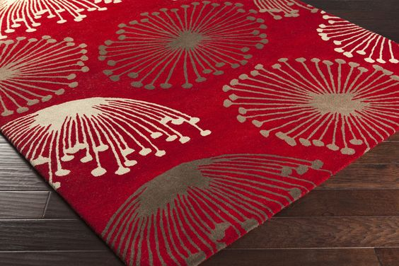 Sanderson Area Rug | Red Floral and Paisley Rugs Hand Tufted | Style SND4519