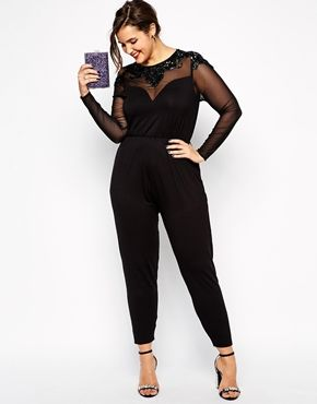 Enlarge ASOS CURVE Exclusive Jumpsuit With Jet Bead Embellishment