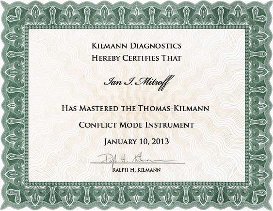 Certificate for the TKI