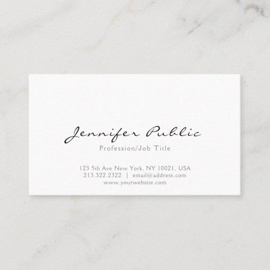 Professional Modern Elegant White Simple Plain Business Card Zazzle Com In 2021 Small Business Gift Ideas Professional Business Cards Minimalist Business Cards