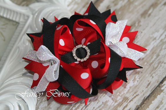 Red and black polka dots Stacked boutique Hair Bow by fancybows, $8.99