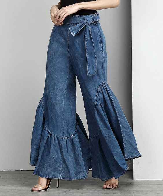 Washed Indigo Chambray High-Waist Ruffle Palazzo Pants