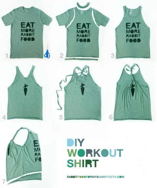 Turn a tee into a comfy workout shirt. So perfect for all the regular shirts I get in my goody bag when I run an event.