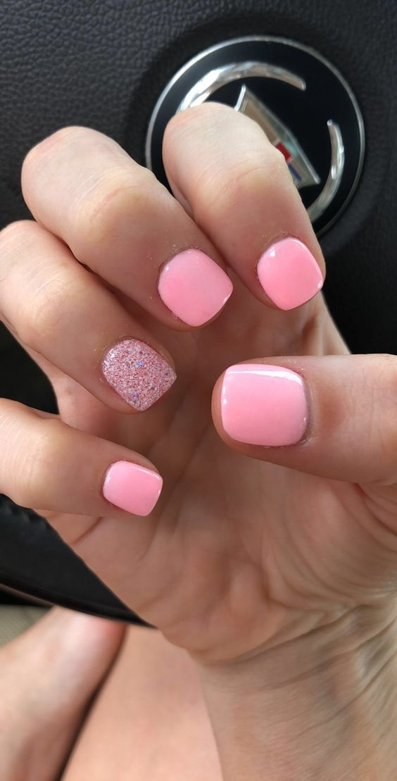 79 Summer Nail Color Designs For Acrylic Glitter Gel Nails Pink