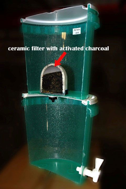 While it might not look like much, a ceramic water filter can mean the difference between you having icky stuff in your water or drinking clean, pure H2O. Blogger Russ Michaud details how to make your own ceramic water filter and offers several examples of DIY systems. Here's his diagram of a 2-bucket setup. From MOTHER EARTH NEWS magazine.: