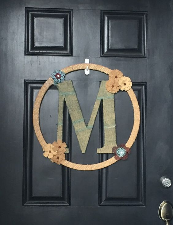 Large Monogrammed Door Hanger by OnParCraftCreations $40.00