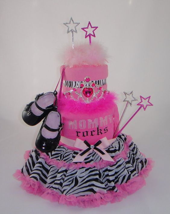 Mommy Rocks Zebra Print Princess Diaper Cake by DiaperCakesDiva, $85.00
