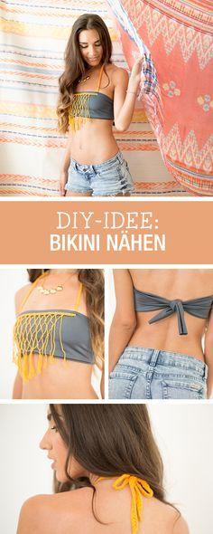 Sommer-DIY: Bikini mit Makramee-Einsatz nähen / diy sewing tutorial: cute makramee bikini via DaWanda.com