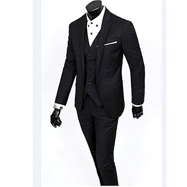 mannen plus size zwart / grijs / blauw Koreaanse stijl slanke pak (blazer& broek) – EUR € 61.74