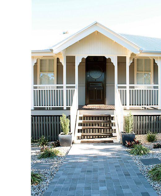 Tony Jarratt S Brisbane Home Love The Grey And White Colour Scheme Exterior Queenslander Verandas