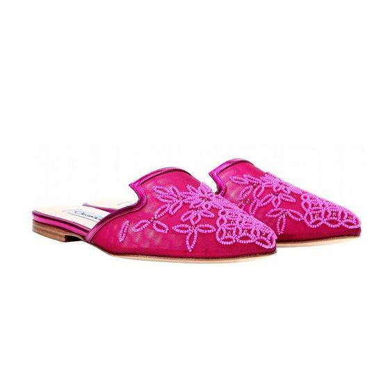 Oscar de la Renta Lynda embellished slippers
