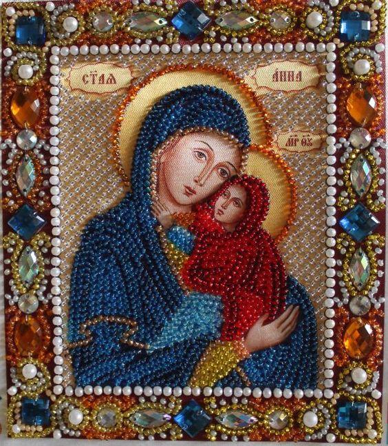Святая мученица Анна. Вышитая чешским бисером, с благословением и молитвой. Освящена. 17х23