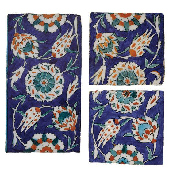 Three Polychrome Iznik Border Tiles, Turkey, 1575-85 | lot | Sotheby's