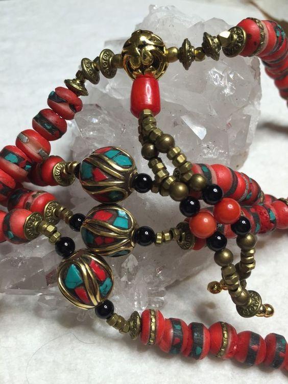 SALE Tibetan Buddhist Yak Bone 108 Beads Prayer Mala Turquoise Coral Brass Inlay