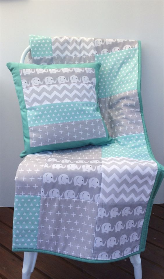 Baby Cot Patchwork Quilt W Mint And Grey Elephant Pattern